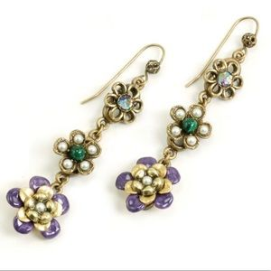 Triple Enameled Flower Dangle Earring,NWT